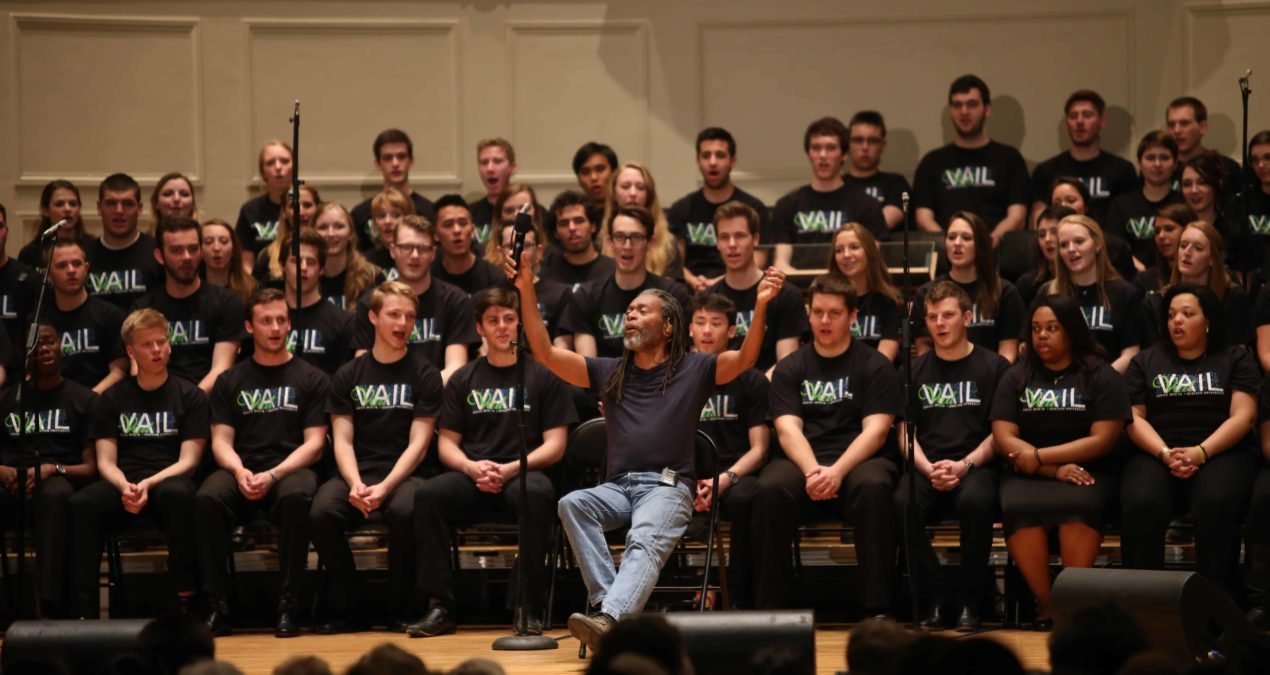 Students make some noise with Bobby McFerrin