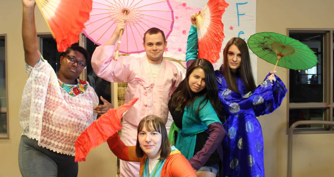 Students dress up for the Cherry Blossom Festival