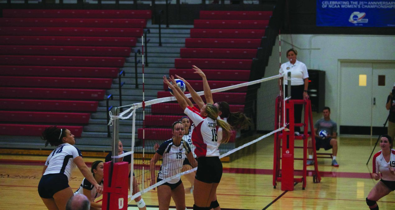 Big Red volleyball breaks in fresh floors with convincing win