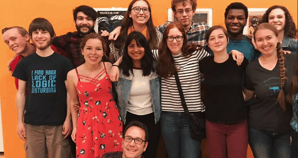 Senior creative writing majors celebrate their finished writing projects
