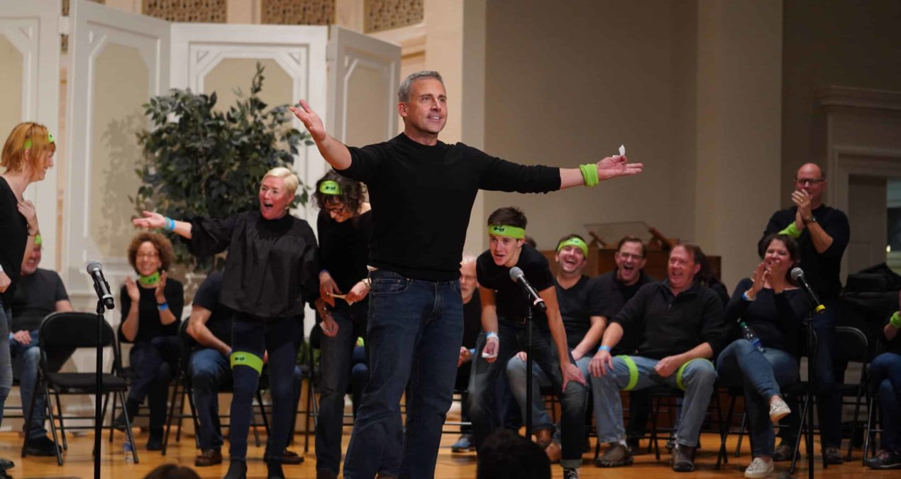 Steve Carell performs in the Burpee's 40th anniversary reunion