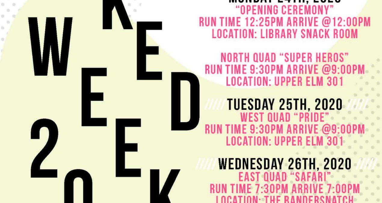 Denison Naked Week 2020 schedule announcement